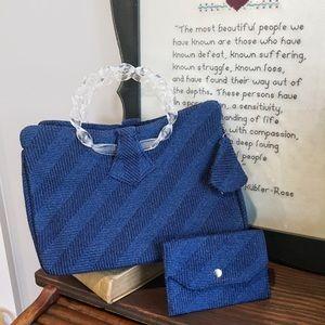 Custom vintage navy blue handbag purse